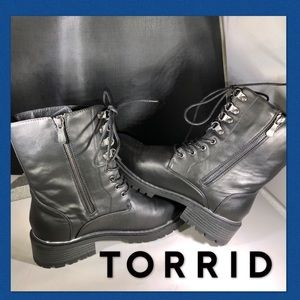➕ Faux Leather Combat Boots Wide Width